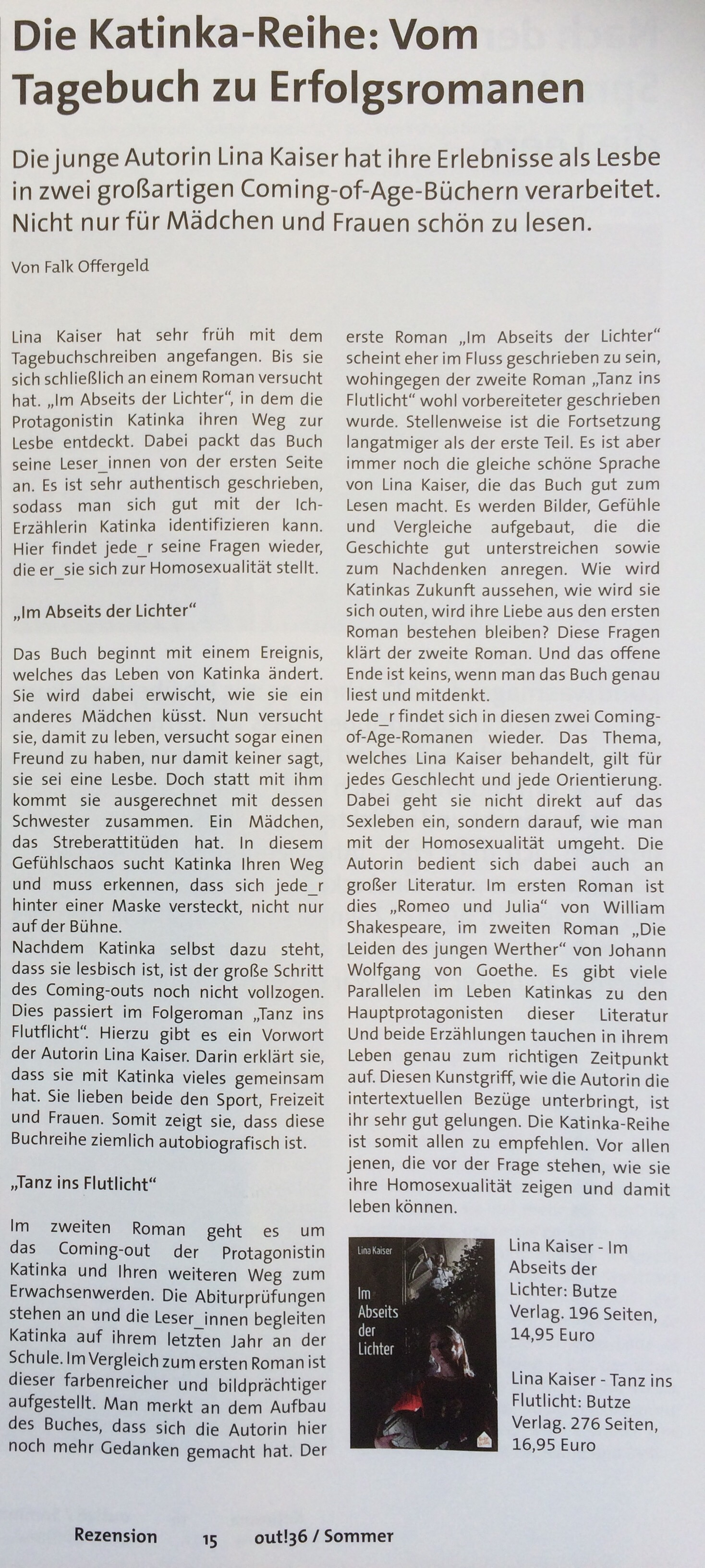 """Rezension von """"Im Abseits der Lichter"""" und """"Tanz ins Flutlicht"""" von Lina Kaiser im out! Magazin"""