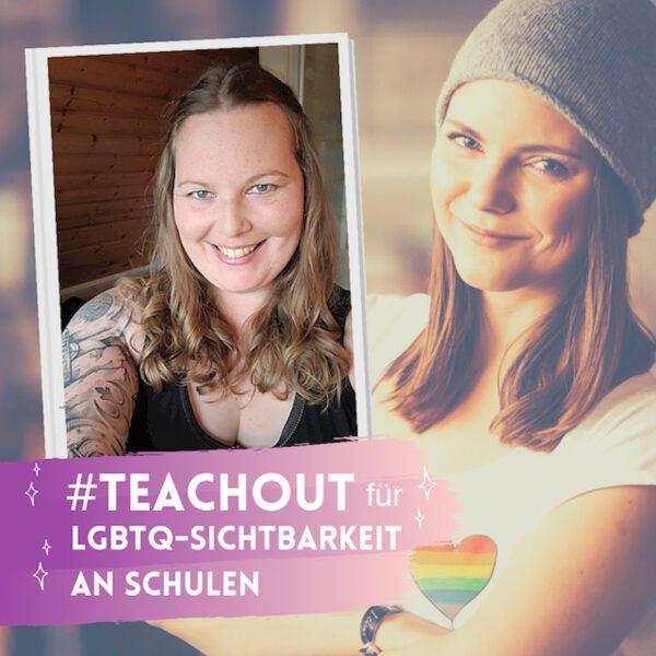"Grafik: Text ""#Teachout für LGBTS-Sichtbarkeit an Schulen"""